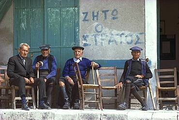 Old men sitting in front of a building, Troodos mountains, Pano Platres, Cyprus, Europe