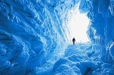 Mountain guide in crevassedes, Brokarjoekull Glacier, Island