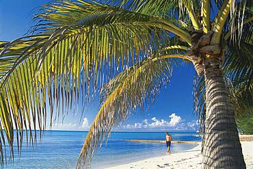 Person on the beach at Rum Point, Grand Cayman Islands, Caribbean