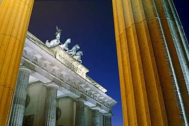The Quadriga on the Brandenburg Gate at night, Berlin, Germany