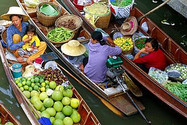 People in boats, floating market, Bangkok, Thailand, Asia