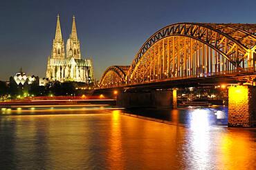 Cologne Cahedral, Hohenzollern Bridge, Cologne, North Rhine-Westphalia, Germany