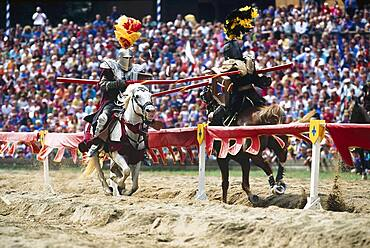 Two knights on horses, Kaltenberger Ritterspiele, Upper Bavaria, Germany