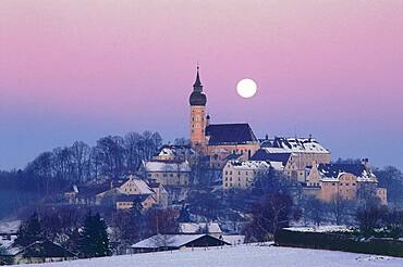 Fullmoon over Andechs monastery, Upper Bavaria, Germany
