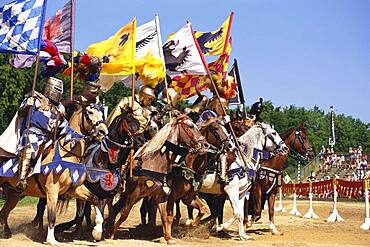 Formation of knights on horses, Kaltenberger Ritterspiele, Upper Bavaria, Germany