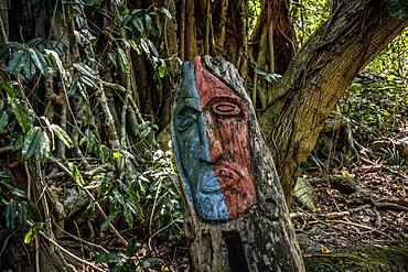 Wooden figures on a ritual place, Wala Island, Malekula, Vanuatu, South Pacific, Oceania