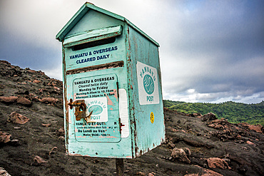 Mailbox on the Yasur volcano on Tanna, Vanuatu, South Pacific, Oceania