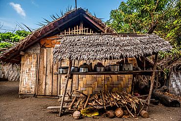Kitchen in front of straw hut, Malekula, Vanuatu, South Pacific, Oceania