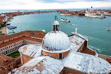 View from the campanile over the dome of the Basilica San Giorgio Maggiore to the Venice lagoon, Veneto, Italy, Europe