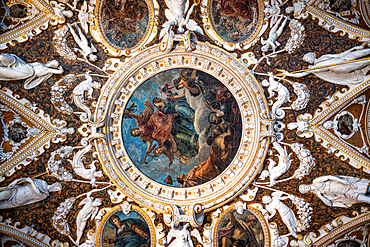 View of the ceiling paintings and decorations in the Doge's Palace, Palazzo Ducale, San Marco, Venice, Veneto, Italy, Europe