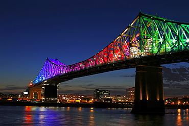 Iluminated Jacques Cartier Bridge, Montreal, Quebec, Canada