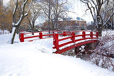 Red bridge in Montreal park