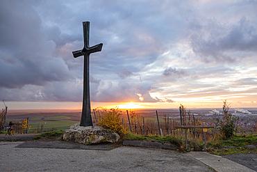 Cross on the calf, Iphofen, Kitzingen, Lower Franconia, Franconia, Bavaria, Germany, Europe