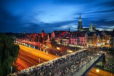 extreme long exposure during the light serenade in Ulm, Danube, Swabian Alb, Baden-Württemberg, Germany