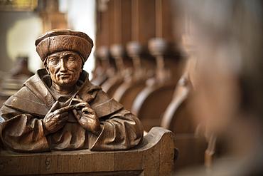 detailed carving of the choir stalls, Blaubeuren monastery, Alb-Donau district, Baden-Württemberg, Germany