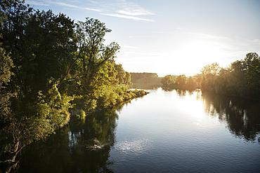 the Danube on the edge of the old town, Neuburg an der Donau, District of Neuburg-Schrobenhausen, Bavaria, Germany