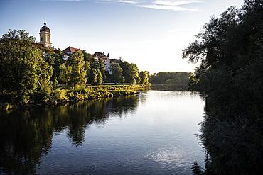 View over the Danube to the old town with the Hofkirche, Neuburg an der Donau, Neuburg-Schrobenhausen district, Bavaria, Germany