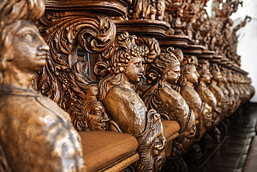 magnificent wood carvings in the choir stalls, chapter house in the monastery Obermarchtal, municipality near Ehingen, Alb-Donau district, Baden-Württemberg, Danube, Germany