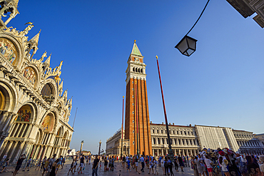 On an August afternoon in St. Mark's Square in Venice, Veneto, Italy, Europe