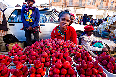 Zoma, market stall with strawberries on the Friday market in the capital Antananarivo, Madagascar, Africa