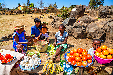 Women with vegetable stand in the central highlands near Ampefy, Madagascar, Africa