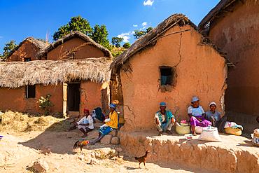 People in village near Ampefy, Merina tribe, central highlands, Madagascar, Africa