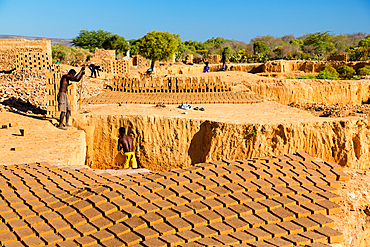 Brickworks, brick production near Tulear, Madagascar, Africa