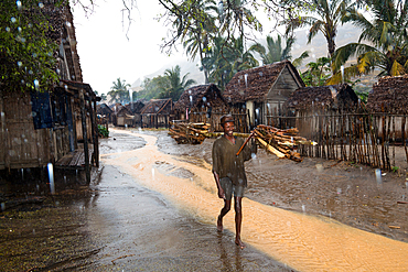 Madagascar in the rain in the fishing village of Evatra, Southern Madagascar, Africa