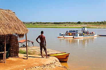 Ferry across the Tsiribihina River at Belo, West Madagascar, Madagascar, Africa