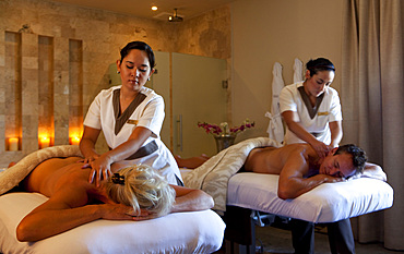 A couples massage in natural light. Algarve, Portugal.
