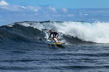 SUP stand up paddler on a breaking wave in the teahupoo surf area, Tahiti Iti, Tahiti, Windward Islands, French Polynesia, South Pacific