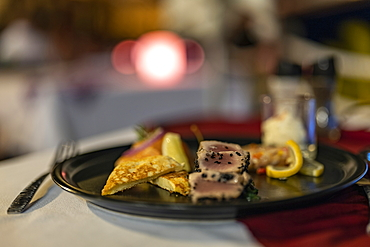 Plate of fish appetizer in the Arii Vahine restaurant of the Hilton Moorea Lagoon Resort & Spa, Moorea, Windward Islands, French Polynesia, South Pacific