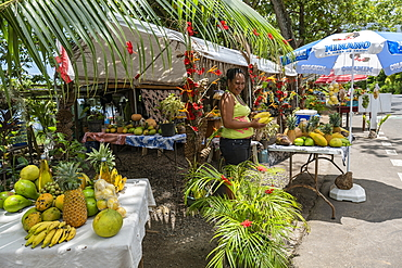 Woman sells tropical fruits at a roadside fruit and vegetable stand in Papetoai, Moorea, Windward Islands, French Polynesia, South Pacific