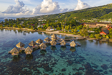Aerial view of the Tahiti Ia Ora Beach Resort (managed by Sofitel) with overwater bungalows, near Papeete, Tahiti, Windward Islands, French Polynesia, South Pacific