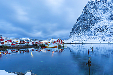 Fishing village of Reine on Lofoten Islands at night, Reine, Norway