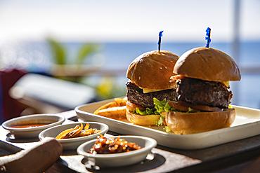 Delicious burgers are served at Malamala Island Beach Club, Mala Mala Island, Mamanuca Group, Fiji Islands, South Pacific