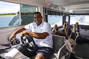 Transfer for guests by speedboat from Port Denarau Marina to Six Senses Fiji Resort on Malolo Island, Port Denarau, near Nadi, Viti Levu, Fiji Islands, South Pacific