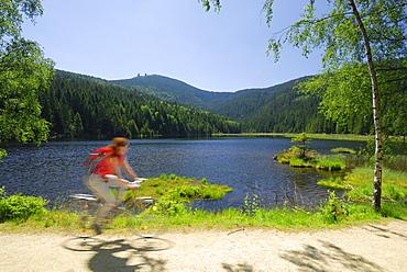 Female cyclist near lake Kleiner Arbersee, Great Arber, Bavarian Forest National Park, Lower Bavaria, Bavaria, Germany