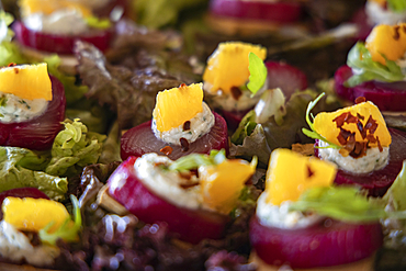 Delicious canapes are served during a cocktail mixology event in a Residence Villa accommodation at Six Senses Fiji Resort, Malolo Island, Mamanuca Group, Fiji Islands, South Pacific
