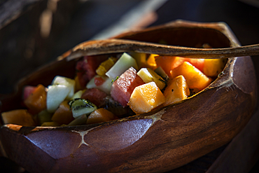 Bowl of fruit salad at a fantastic breakfast buffet in the Tovolea Restaurant of the Six Senses Fiji Resort, Malolo Island, Mamanuca Group, Fiji Islands, South Pacific