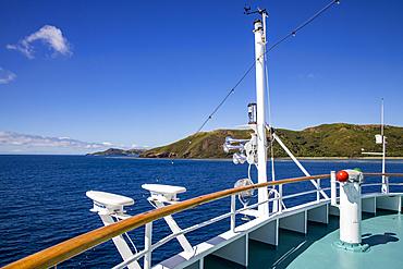 Bow of cruise ship MV Reef Endeavor (Captain Cook Cruises Fiji), Naviti Island, Yasawa Group, Fiji Islands, South Pacific