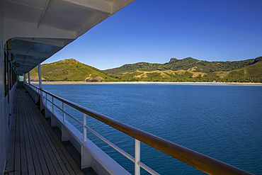 Railings and deck on board the cruise ship MV Reef Endeavor (Captain Cook Cruises Fiji), Naviti Island, Yasawa Group, Fiji Islands, South Pacific