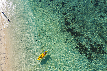 Aerial view of two people in kayak at Malamala Island Beach Club, Mala Mala Island, Mamanuca Group, Fiji Islands, South Pacific