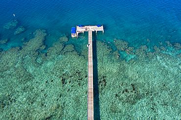 Aerial view from the pier at Malamala Island Beach Club, Mala Mala Island, Mamanuca Group, Fiji Islands, South Pacific