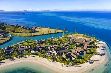 Aerial view of Residence Villa accommodations at Six Senses Fiji Resort, Malolo Island, Mamanuca Group, Fiji Islands, South Pacific