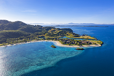 Aerial view of Six Senses Fiji Resort with offshore reef, Malolo Island, Mamanuca Group, Fiji Islands, South Pacific