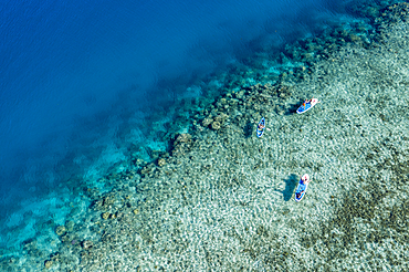 Aerial view of a family enjoying water sports activities on the coral reef in front of Six Senses Fiji Resort, Malolo Island, Mamanuca Group, Fiji Islands, South Pacific
