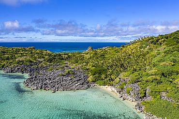 Aerial view from Blue Lagoon Beach, Sawa-i-Lau Island, Yasawa Group, Fiji Islands, South Pacific