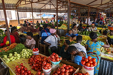Fruit and vegetables for sale in the Kimironko market, Kigali, Kigali Province, Rwanda, Africa
