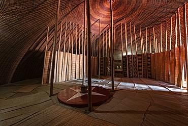 Interior view of the replica of the traditional royal hut at the Royal Palace Museum of King Mutara III Rudahigwa 1931, Nyanza, Southern Province, Rwanda, Africa